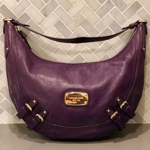 MICHAEL Michael Kors Purple Leather Hobo Bag
